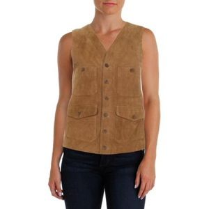 Lauren Ralph Lauren Tan Brown Suede Zip Up Vest